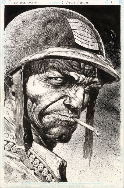 Sgt Rock by Brian Bolland - Inks