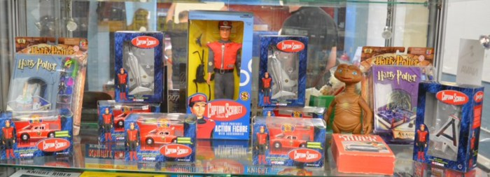 A collection of Captain Scarlet items, including; an action figure, diecast vehicles by Corgi etc, this lot also includes ET, Knight Rider video and some Harry Potter items