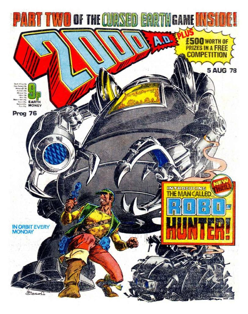 2000AD Prog 76 Cover - Robo-Hunter by Ian Gibson