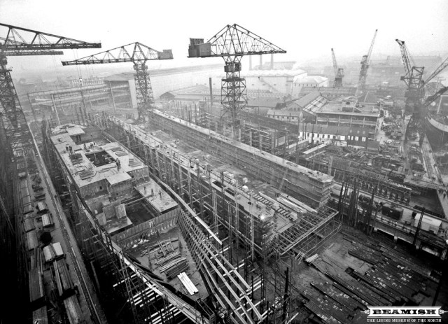 View from crane of Floating Dock under construction at Swan Hunter and Wigham Richardsons Shipyard, Wallsend in January 1961. Photo: The Beamish Collection