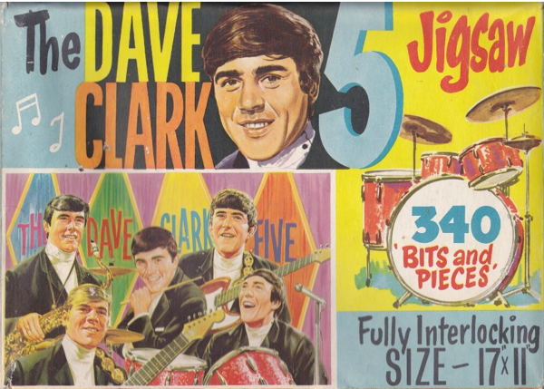 "A Dave Clark Five jigsaw illusyrated by Walt Howarth. Instead of the more normal ""340 Pieces"" the box lid states the jigsaw features ""340 Bits and Pieces"", the name of a big hit for Dave Clark in 1964."