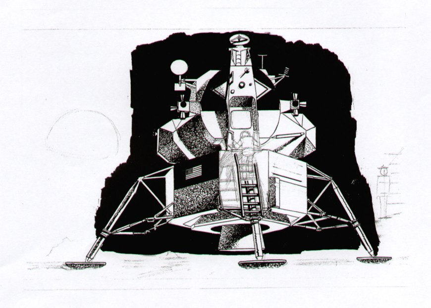 """One of Frank Bellamy's draft """"moon landing"""" artworks for the Daily Mirror, drawn in 1969"""