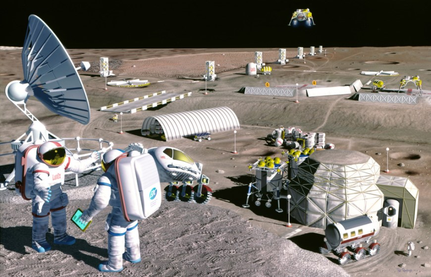 NASA has been discussing concepts for human lunar exploration since the Apollo flights ended. In this 1995 artist's concept, a lunar mining operation harvests oxygen from the lunar soil in Mare Serenatatis, a few kilometers from the Apollo 17 landing site. Image Credit: SAIC/Pat Rawlings