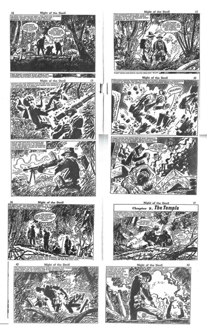 "Selected panels from ""Night of the Devil"", from Battle Picture Library No.62. Art by Hugo Pratt. With thanks to Ron Tiner"
