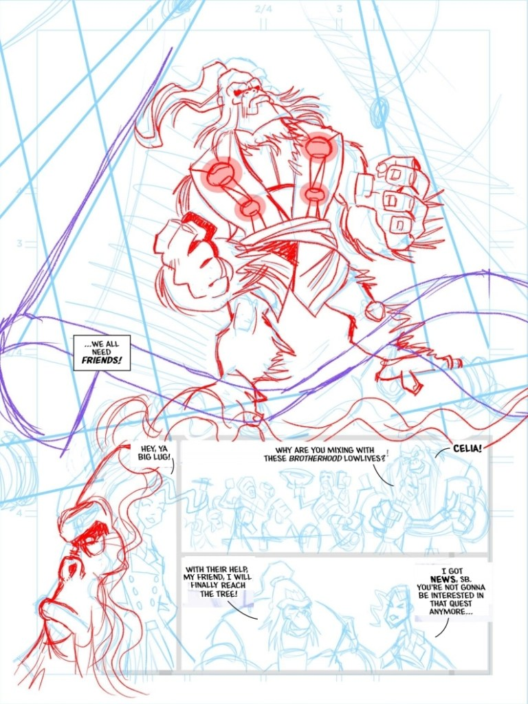 Work in progress on a page of The Seven Sagas of Silverbeard - Hell-Bound