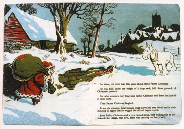 A double-page spread from the 1947 book 'Steve's Christmas Holiday' by Roland Davies (as reproduced by Ashford & Wright in Book & Magazine Collector no.237). With thanks to Phil Rushton