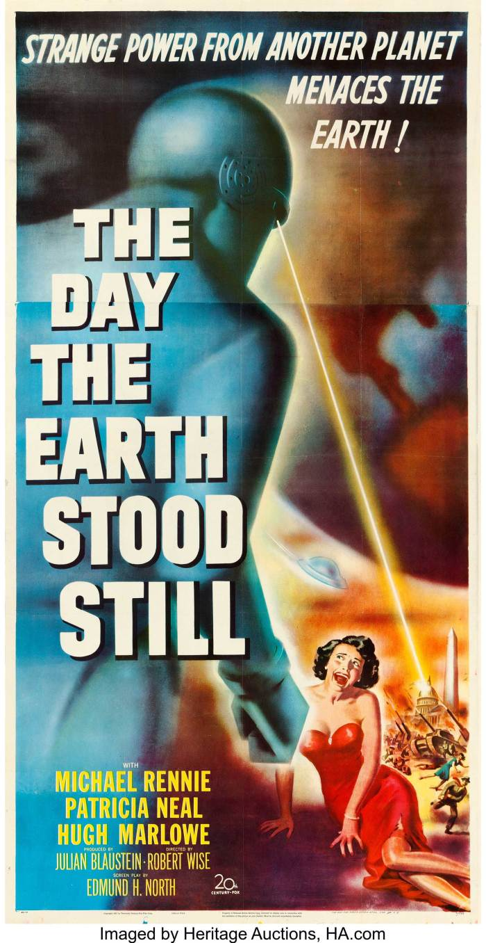 """A The Day the Earth Stood Still (20th Century Fox, 1951). Three Sheet (41"""" X 78.5""""). For 1950s SF fans, this large format piece is an essential and always desirable poster. The film was based on the story """"Farewell to the Master"""" by Harry Bates, masterfully adapted for the screen by director Robert Wise. Thought provoking, this thriller tells of Klaatu, a soft-spoken interplanetary traveler, and his """"bodyguard"""" Gort, a huge robot who shoots laser-like death rays whenever threatened, that land their spacecraft near the White House. Ultimately, Klaatu's message for earthlings is a peaceful one, but this intriguing three sheet captures an ominous Gort unleashing his lethal beam on an alarmed crowd."""