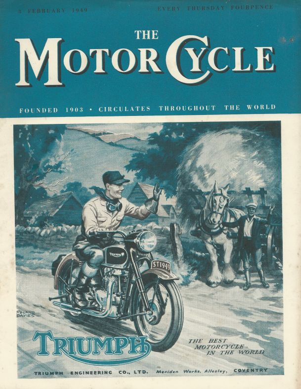 "A cover for ""The Motor Cycle"" by Roland Davies"