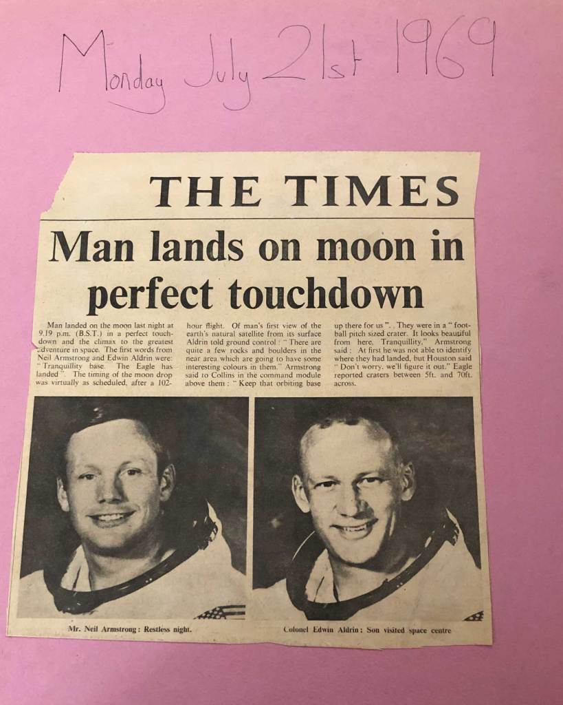 The Times, 21st July 1969 - Man lands on the moon. From my scrapbook of the occasion