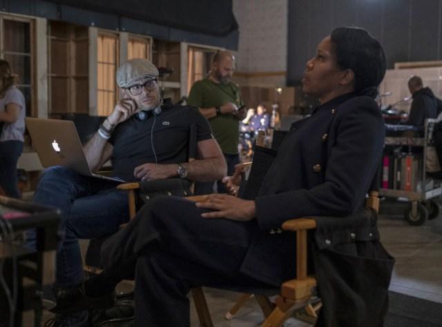 Damon Lindelof, Regina King (Credit: Mark Hill/HBO)
