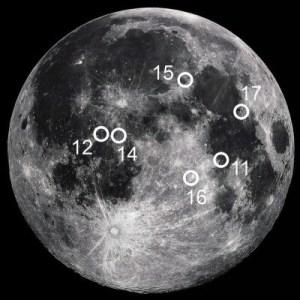 Apollo Moon Landing Sites Map. Image: NASA