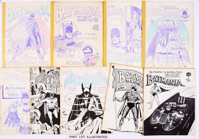 Batmania US fanzine (1964-67) 1-16, 19, 23. Published in 1964 by Bill (Billjo) White in Columbia, Missouri, Batmania was produced for 'Batmanions' as the unofficial fanzine for Batman fans. He sent the first issue to DC editor, Julius Schwartz who adopted it and publicised the fanzine in Batman # 16