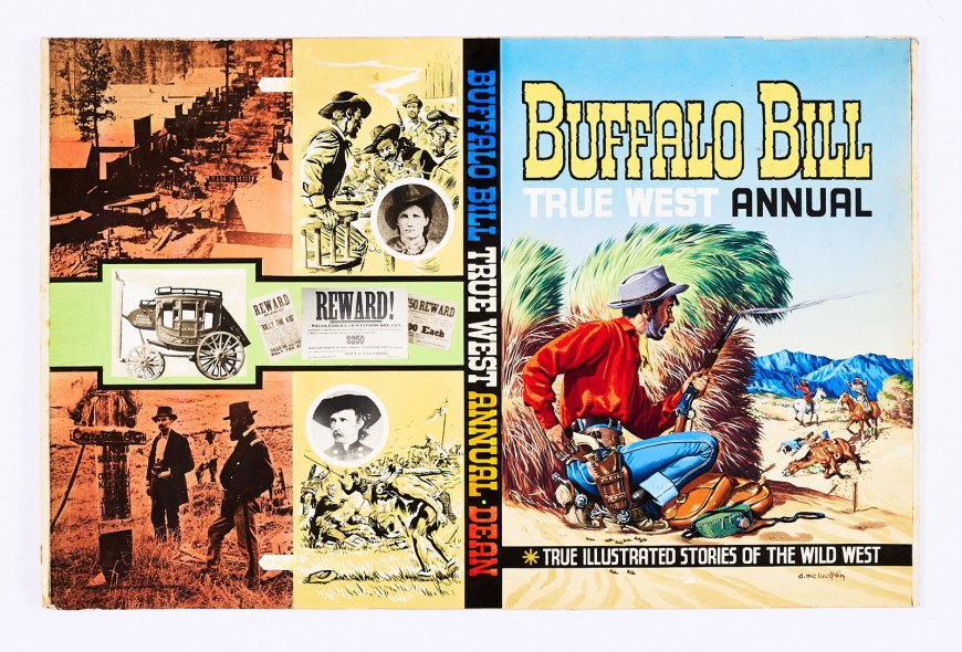 Buffalo Bill True West Annual No 13 original front and back cover artwork (1961) painted and signed by Denis McLoughlin. Buffalo Bill annuals gained huge popularity in the 1950s. Their covers and interior artwork were designed and painted by Denis Mcloughlin (1918-2002) whilst his brother, Colin, created the characters and wrote most of the stories. Compal are delighted to offer McLoughlin's original artwork for Annual No 13 from 1961, the last of the series by publishers, Dean & Son. The gouache and collage rendition illustrated here shows the artist at the height of his powers. Enigmatically, McLoughlin used his own facial image for the outnumbered cowboy keeping the Indians at bay on the cover.