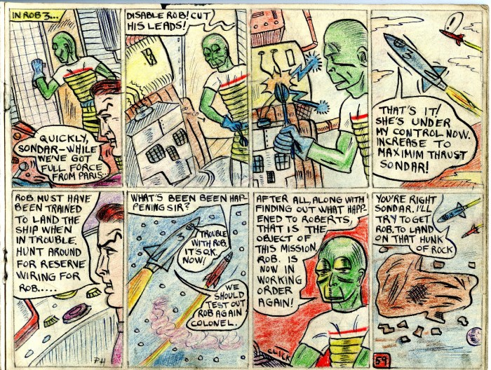 "A page from Philip Harbottle's comic strip adaptation of ""The Adventures of Dan Dare - Robot Army"""