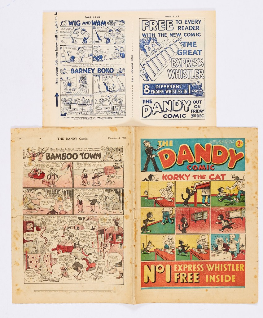 Dandy Comic No 1 (1937). With original 4 page flyer for Dandy No 1 and No 2. (A mini comic in its own right).
