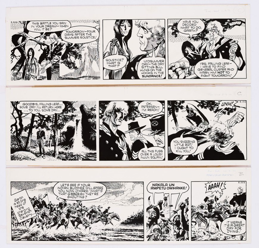 Garth: 3 original artworks (1971) by Frank Bellamy from the Daily Mirror 1st/8th/25th September 1971. From the Bob Monkhouse Archive. Garth and General Custer lead the 7th Cavalry charge against Sitting Bull. Indian