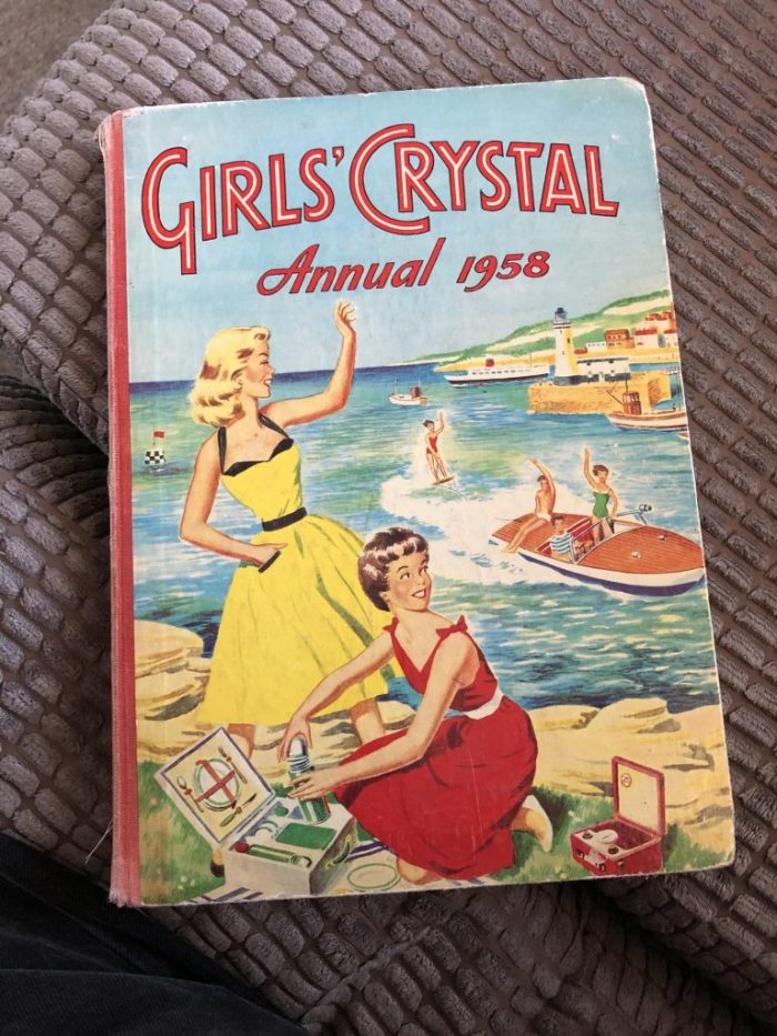 John Armstrong provided the cover for the 1958 Girls' Crystal Annual, as well as one an spread