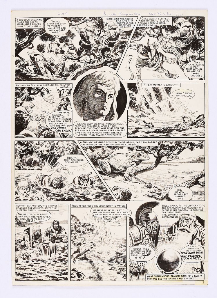 Karl The Viking original artwork (1963) by Don Lawrence for Lion 6 April 1963. From the Bob Monkhouse Archive. Karl and his small Viking band are attacked by killer amphibians …