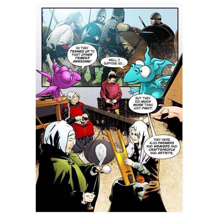 """Saxon Princess"" by Nigel Dobbyn, a comic strip for Kirkleatham Museum"