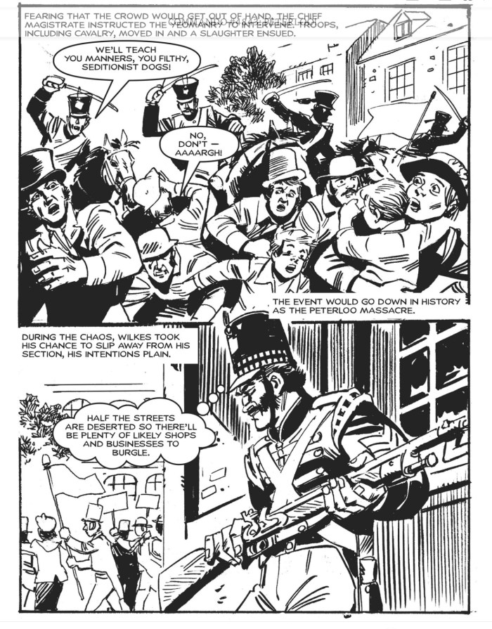 """Ferg Handley blends the terror of events of St Peters Field on 16th August 1819 with his fictional tale pitting an honest soldier against a corrupt sergeant. From Commando Issue 4843 - """"Peterloo!"""". Art by Carlos Pino"""