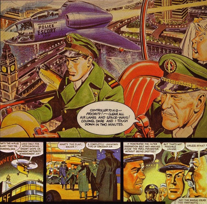 "A redrawn opening panel of ""Dan Dare: Man from Nowhere"" with art by Frank Hampson and Don Harley, work done for the Dragon's Dream Collection"