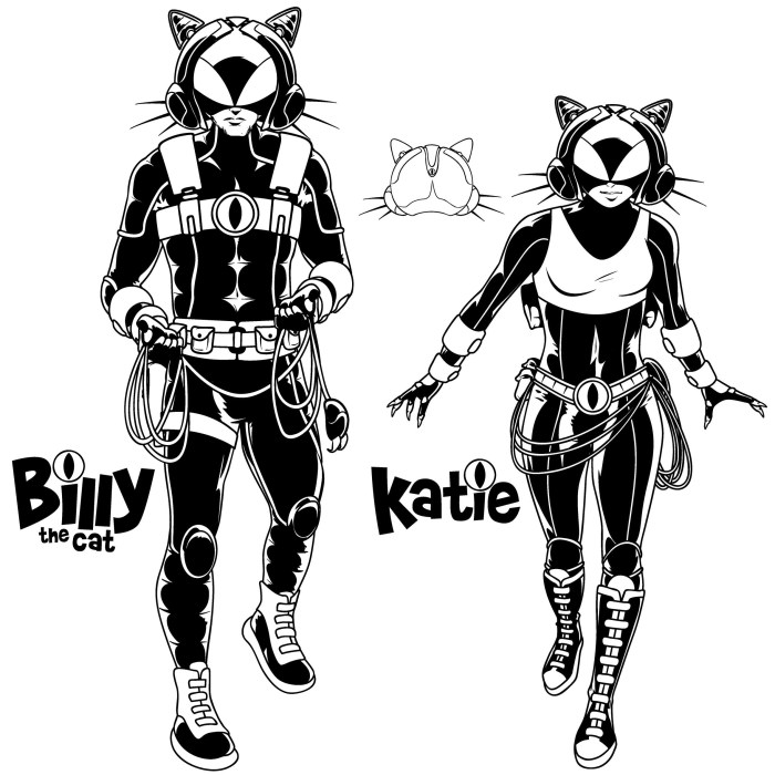 Billy the and Katie the Cat by Nigel Dobbyn, redesigns for a planned reboot for STRIP Magazine. Billy the Cat © DC Thomson Media