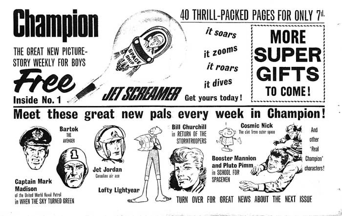This 1966 promotional flyer for Champion, aimed at newsagents, had no reason to mention many strips were European in origin