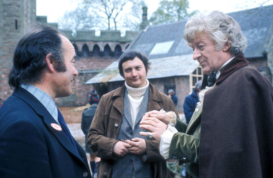 """Terrance Dicks (centre) on location during recording of the Doctor Who story """"The Time Warrior"""". Photo: BBC"""
