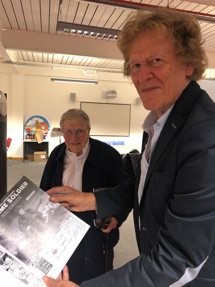 Writer Pat Mills and cover artist Ian Kennedy at the launch of the Great War Dundee Comic on Friday 21st September at V&A Dundee. Photo courtesy Phillip Vaughan