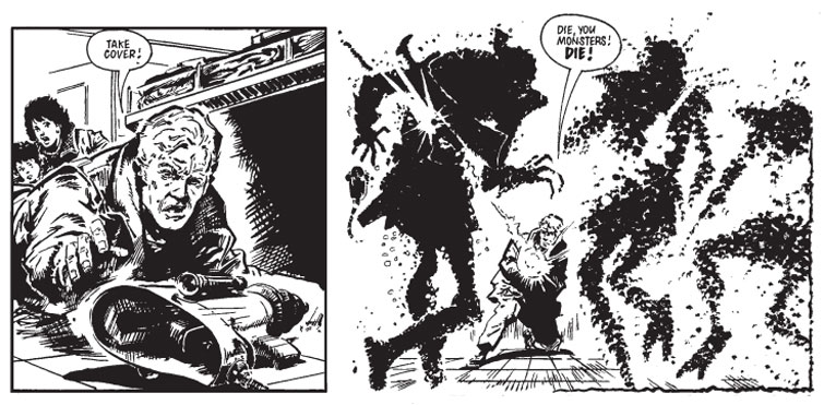 Battling alien invaders in Invasion 1984. Never mess with a linguist...