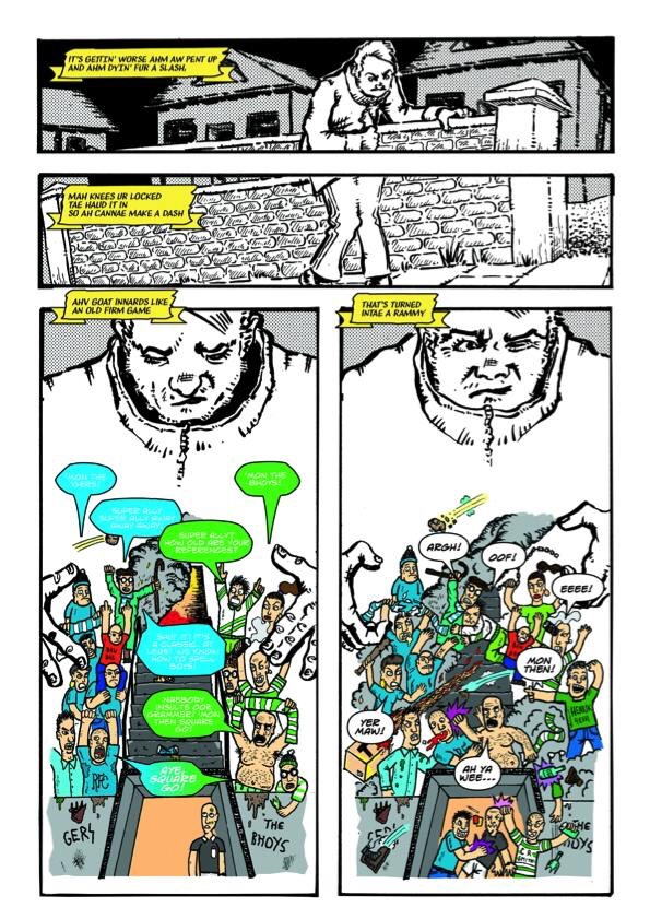 """A page from """"The Long Walk Hame"""" by Craig Collins and Gordon Johnston, coloured by Chris McAuley"""