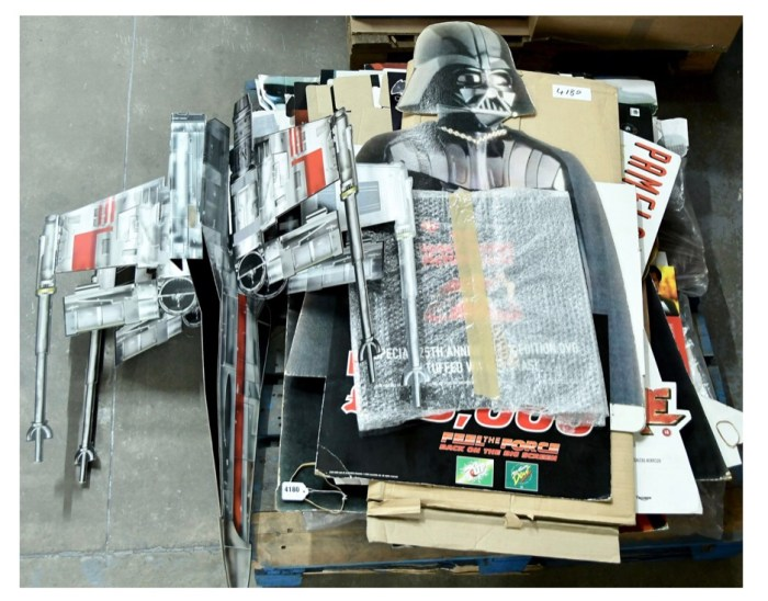 Large Quantity of Promotional Standees including Star Wars X-Wing Fighter model, Star Wars, Barb Wire, Austin Powers, MASK and other titles