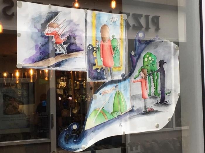 Lakes International Comic Art Festival 2019 Windows Trail art by Nikki Bates