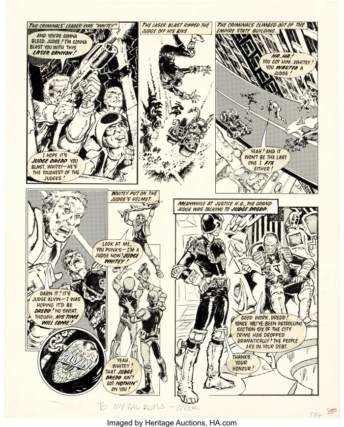 Judge Dredd makes his first appearance in 2000Ad. Art by Mick McMahon