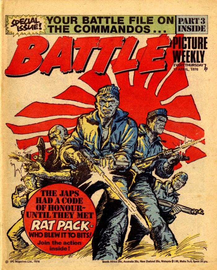 The cover of Battle, cover dated 17th April 1976 - featuring Rat Pack. Art by Carlos Ezquerra. With thanks to Great News For All Readers