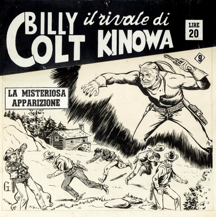 "Original cover made by Gamba (Francesco Leg) for ""The Mysterious Apparition"", published in the series Billy Colt the rival of Kinowa Issue 9 from the Dardo, in 1951"