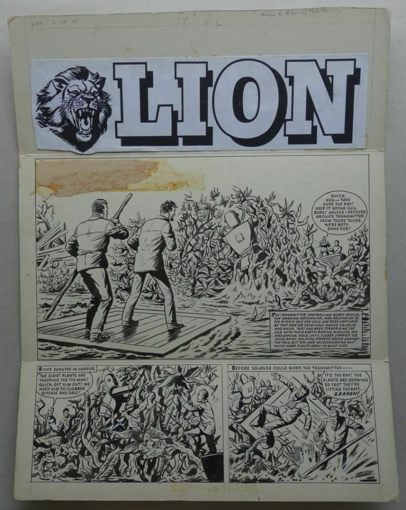 """A smashing """"Robot Archie"""" cover strip for Lion by Ted Kearon, cover dated 2nd February 1965"""