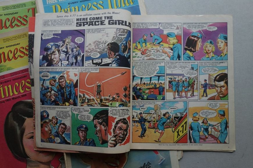 """A """"Here Come the Space Girls"""" spread from Princess Tina comic (1967-1970)"""