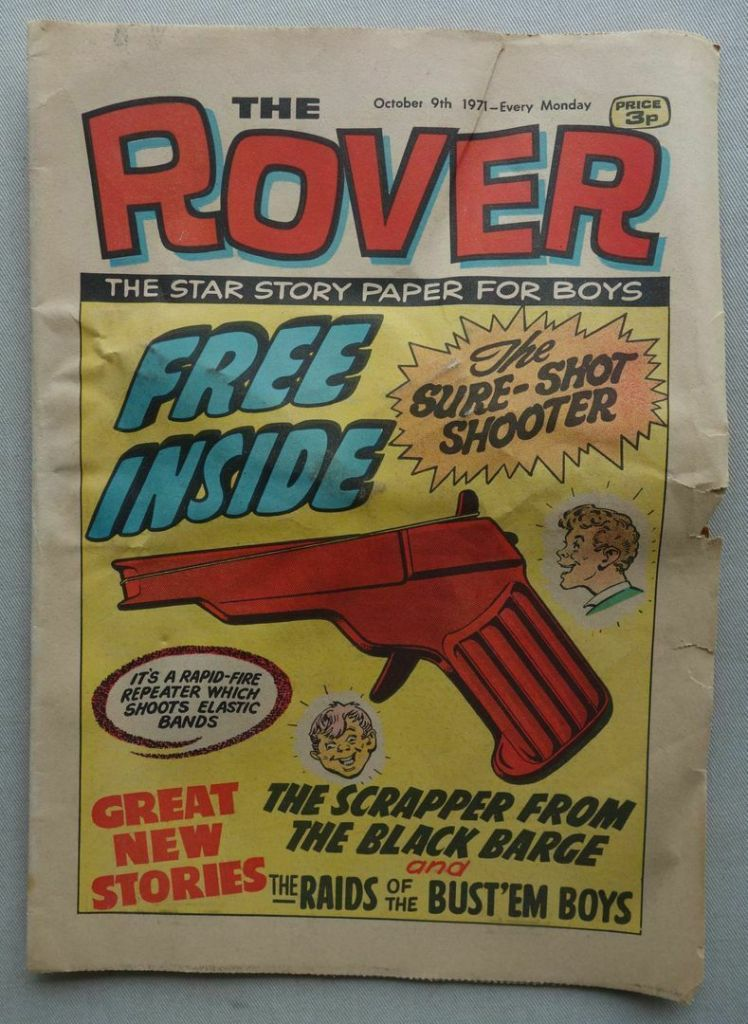 Rover cover dated 9th October 1971, which includes an unopened Sure-Shot Shooter free gift