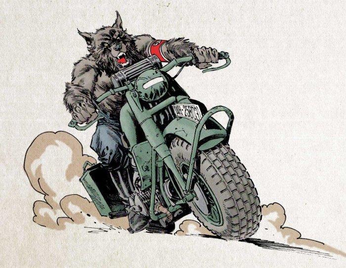 "Art by Staz Johnson inspired by the film ""Dark Corners - Werewolves on Wheels"""