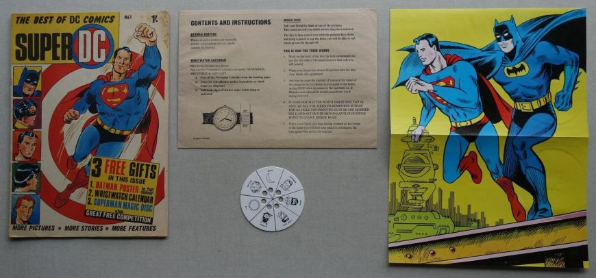 Super DC Comic #1 featuring Superman Batman, published in 1969, plus two free gifts