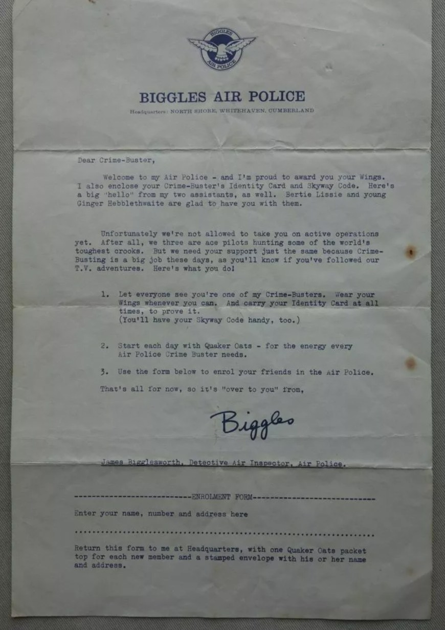 Biggles Air Police Letter