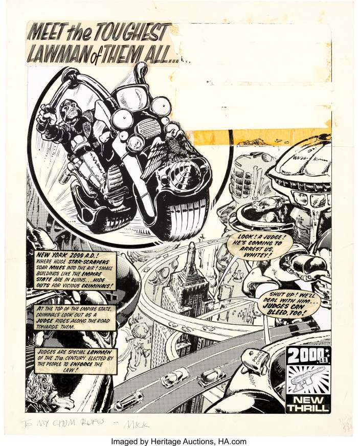 "Mike McMahon's first published ""Judge Dredd"" strip for  2000 AD, published in Prog 2 in 1977. The first panel is a stat of art by Carlos Ezquerra, who designed the character, co-created with John Wagner"