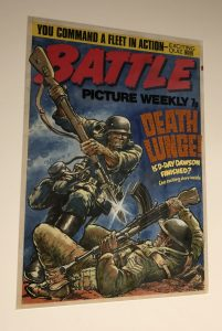 """An unpublished Battle cover by Carlos Ezquerra deemed too violent for publication features as part of the Cartoon Museum's Comic Creators, the Famous and the Forgotten"""" exhibition"""
