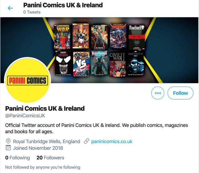Panini Comics UK's abandoned Twitter account
