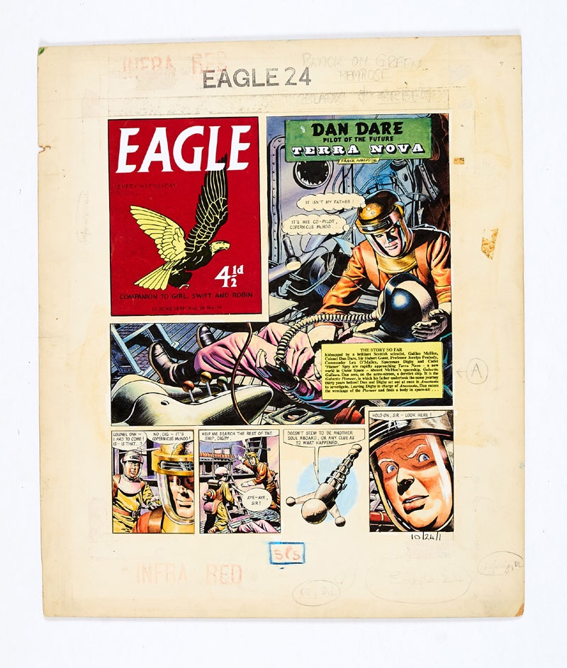 Dan Dare original front cover artwork (1959) drawn and painted by Frank Hampson for The Eagle Volume 10 No 24, 1959. Dan's father had gone missing 30 years before and boarding his derelict ship, Galactic Pioneer, Dan enters the wreckage to find a body in a spacesuit… Bright watercolour on board. Eagle logo, story title and 'Story so far' word panels are laser colour copies. 20 x 16 ins. Comic Book Auctions are delighted to offer this iconic piece on behalf of the Home from Home Charity who care for over 200 vulnerable children through a network of 36 small family homes across South Africa. The hope is that one day the orphans will either be re-united with their biological families, or failing that, Home from Home will continue to provide them with the best possible foundation to lead happy, successful lives. There will be no 19% buyer's premium on this charity lot.