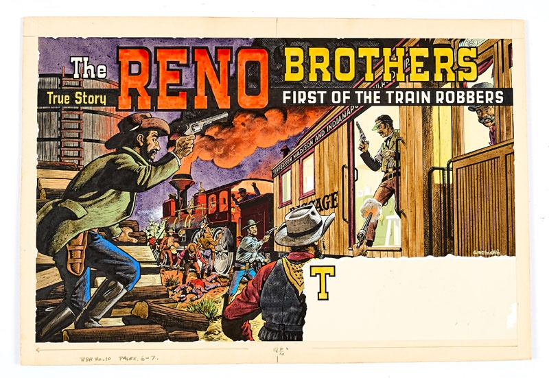 Reno Brothers original double page artwork painted and signed by Denis McLoughlin (1958) from The Buffalo Bill Annual No 10 pages 6 and 7. From a true story, the Reno Brothers were the first identified train robbers and here they are holding up the Jefferson Madison and Indiana railroad. McLoughlin's detailed understanding of perspective is brilliantly captured in this all-action, fresh coloured illustration Poster colour on board. 20 x 14 ins