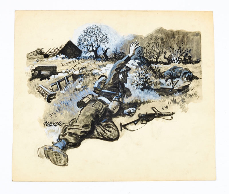 Original artwork drawn and signed by Eric Parker showing a commando blowing up a German machine-gun nest. Used as a chapter illustration for The Ranger (1960s). From the Eric Parker Archive of original art. Black and white wash on board. 17 x 15 ins