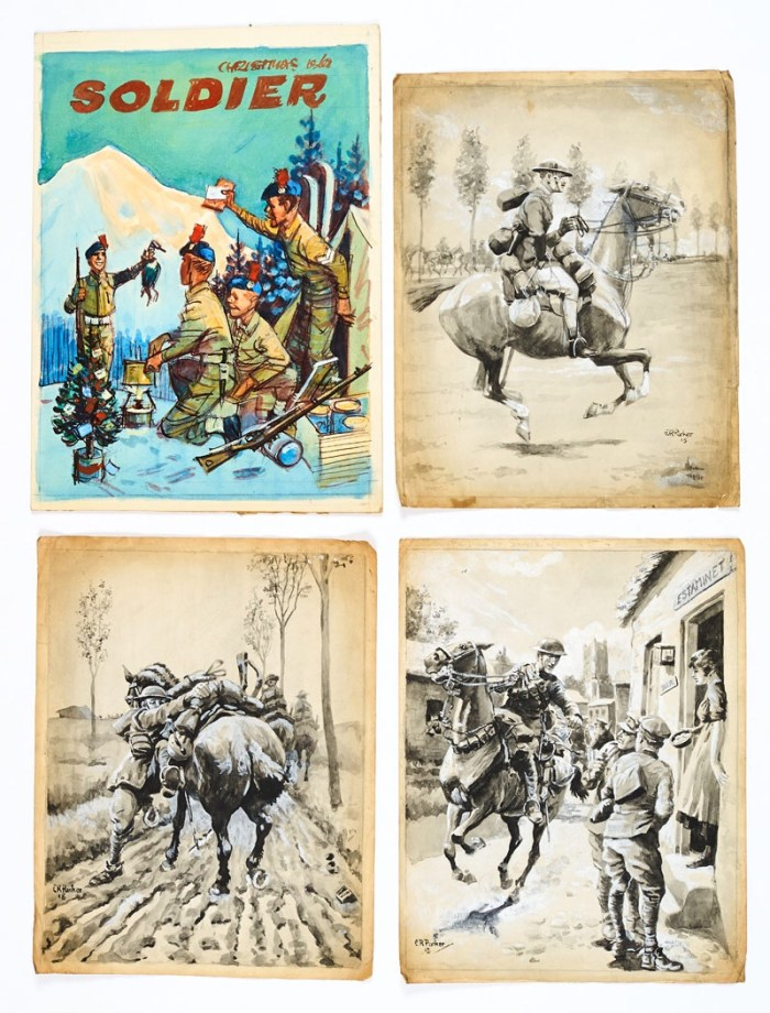 The Soldier official magazine of the British Army original preparatory cover artwork by Eric Parker (1950s) with three WWI mounted regiment original illustrations signed and dated 1918 (dog-eared at the edges). Some of Parker's earliest work for British Military Intelligence. From the Eric Parker Archive of original art. Watercolour on board, ink and wash on paper. 11 x 9 ins (Four artworks)