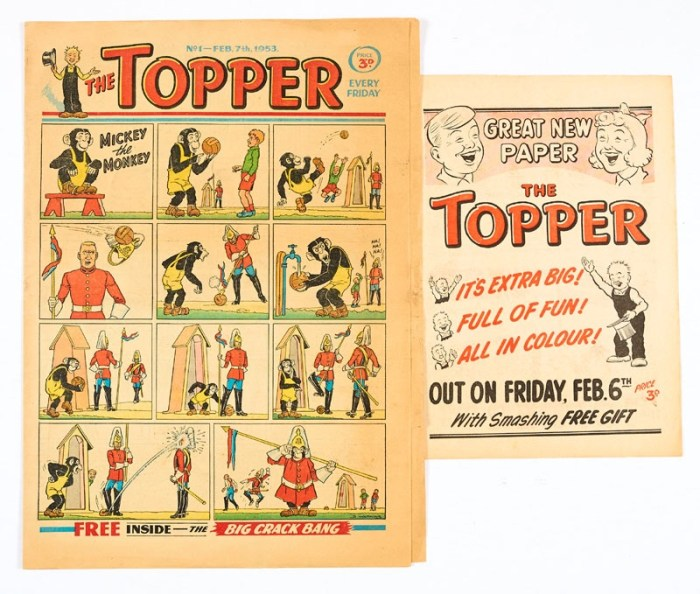 Topper No 1 (1953) with 4-page No 1 Flyer; featuring Mickey The Monkey and Treasure Island by Dudley Watkins, Beryl The Peril by Davy Law